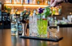 Ausdekorieren von Gin Longdrink in Kristallgläsern für Gin Tasting in der Landlust