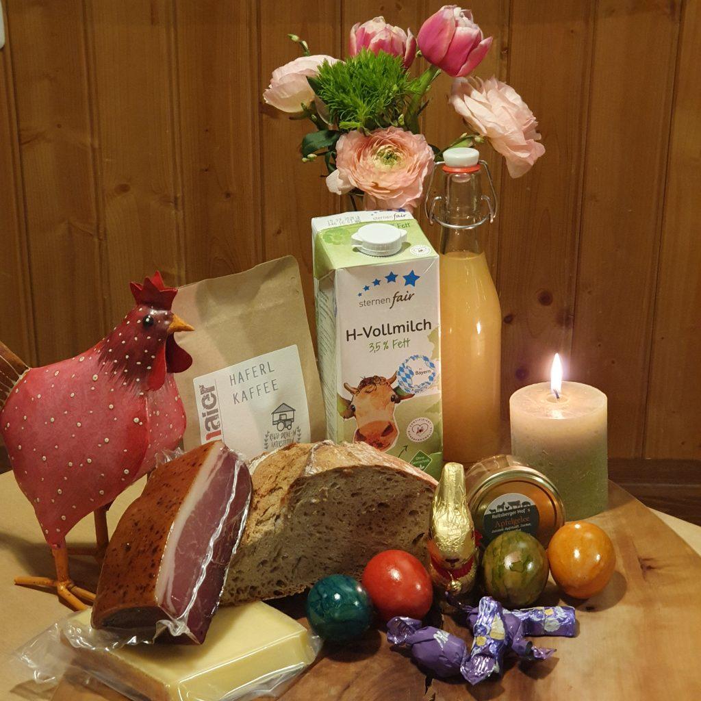 Paket mit Lebensmittel zum Verschicken für Ostern