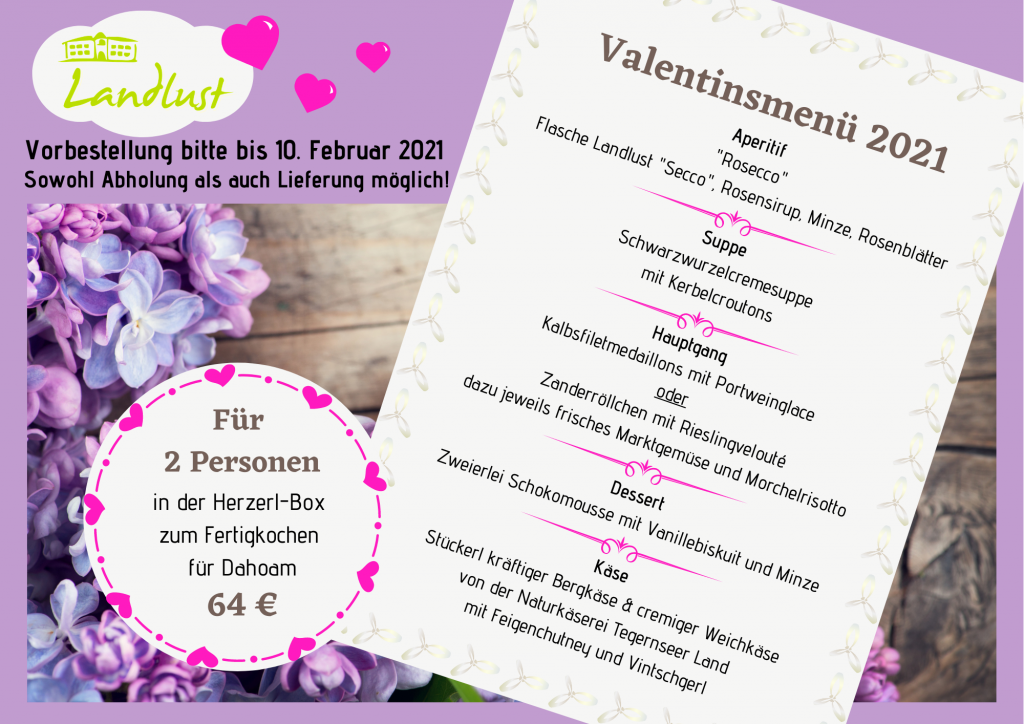 Unser Valentinstag-Menü zum Fertigkochen für Dahoam 2021